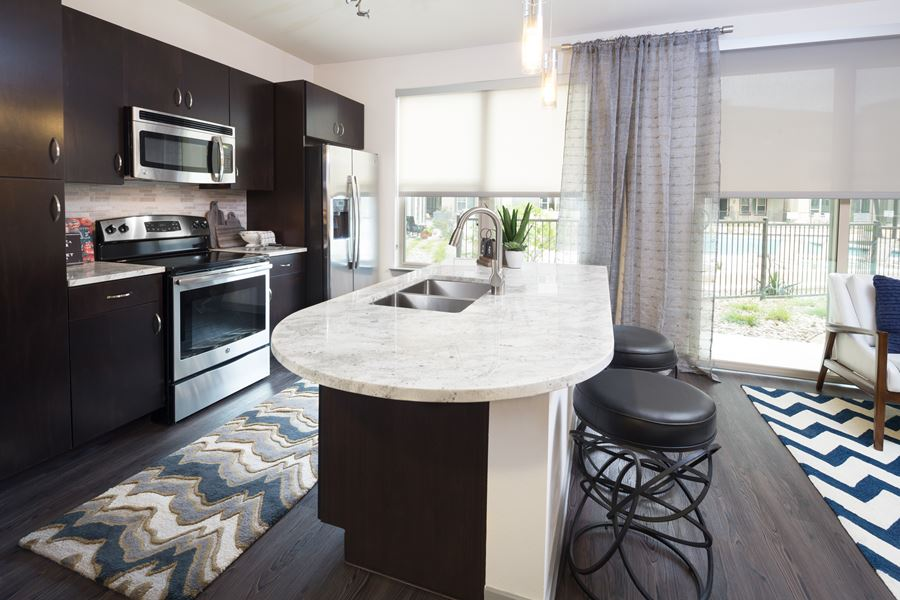 A look at the kitchen in an Addison Karmer Station apartment.