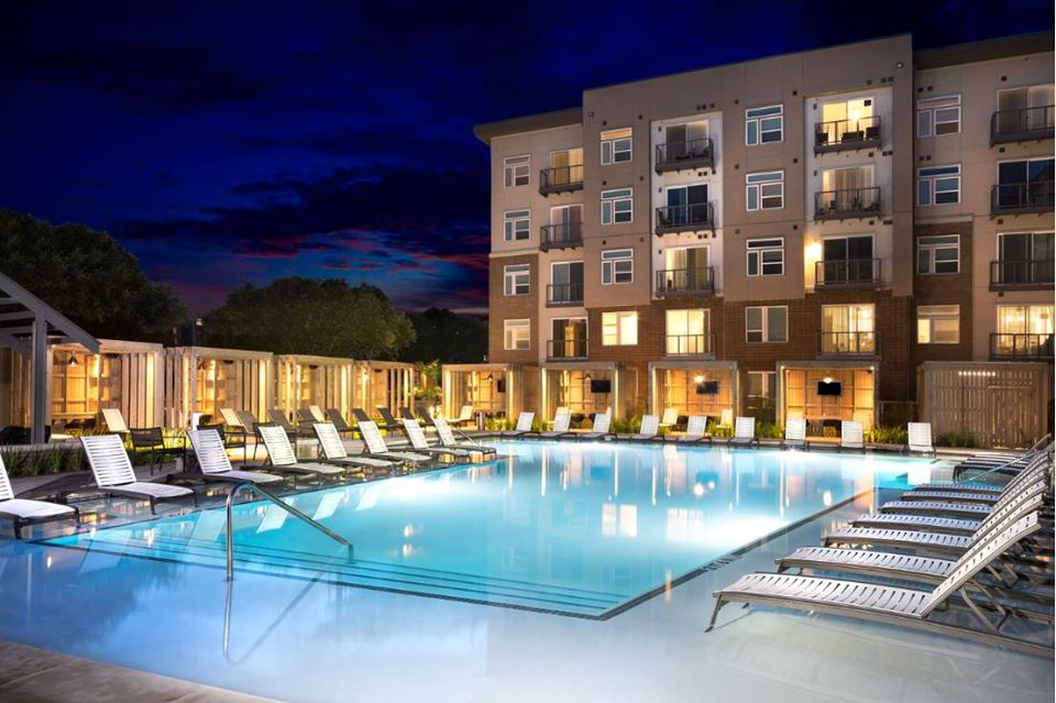 The lighted pool at the Gallery apartments in the Domain.